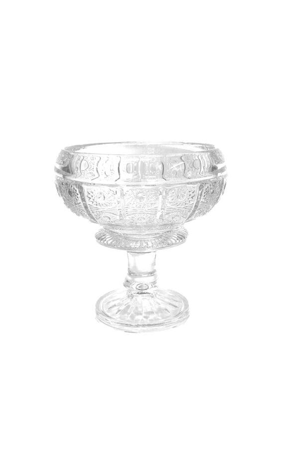 Coppa portaconfetti e porta bon bon in vetro decorato stile boemia d. 18 h. 20 cm