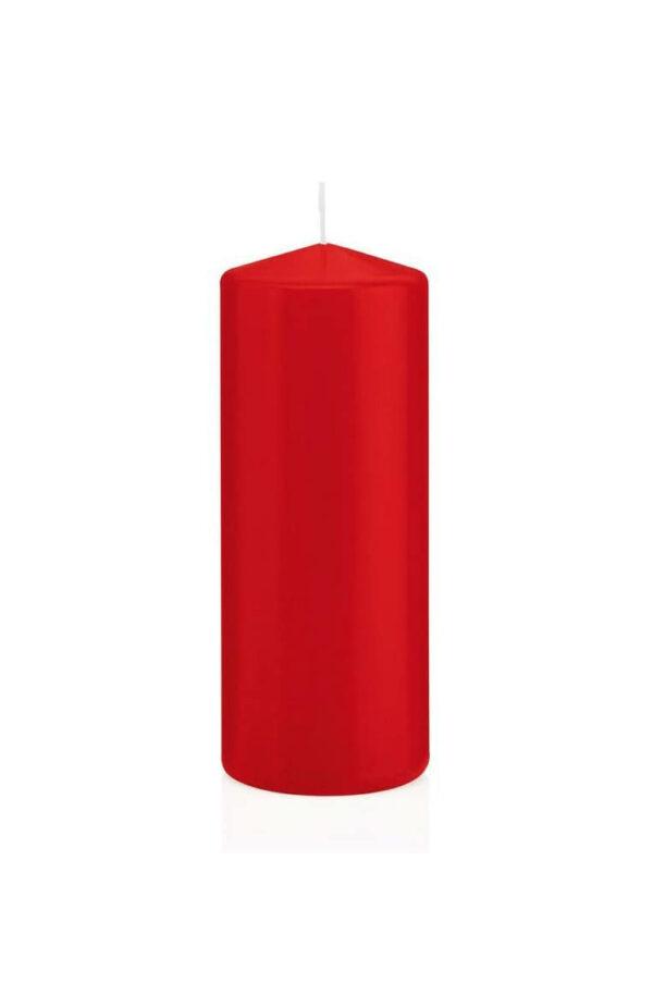 Set 6 candele cilindriche rosse h. 6 d. 6 cm (ottima cera tedesca che cola all'interno - durata 21 ore)