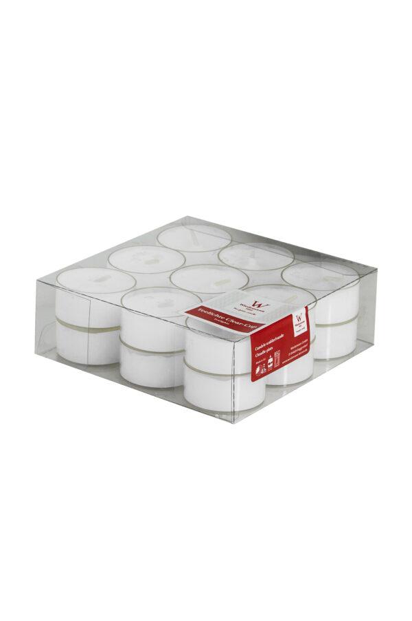 Set 24 Tea lights con contenitore trasparente d. 3,5 cm (durata 7,5 ore)