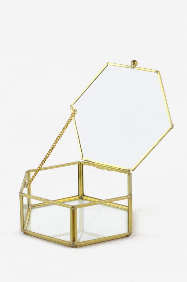 Scatola cofanetto esagonale in vetro e metallo oro 13,5 x 12,8 h. 5,2 cm