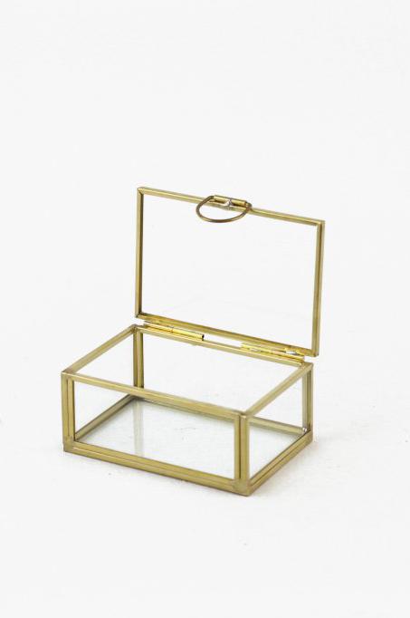 Scatola cofanetto rettangolare in vetro e metallo oro 9,2 x 6,7 h. 4,2 cm