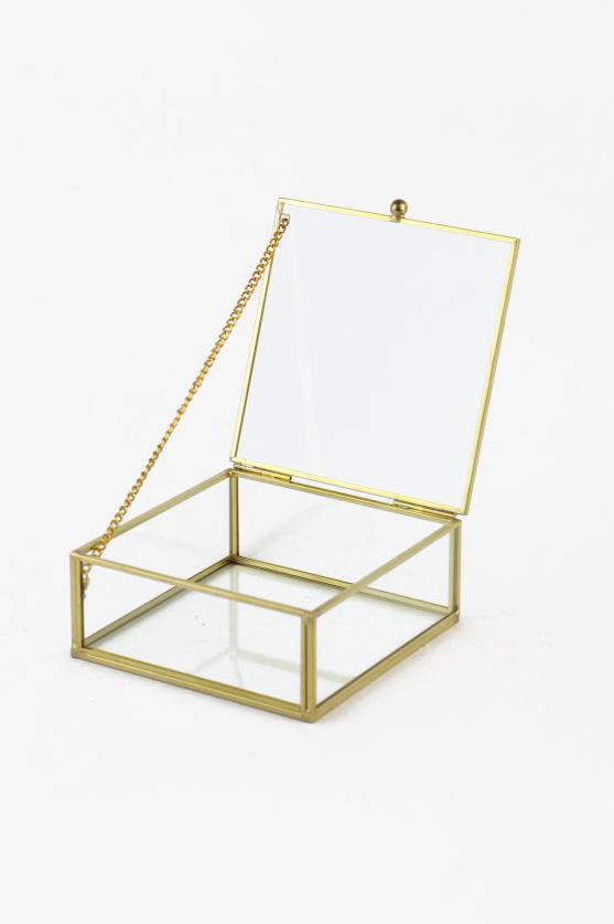 Scatola cofanetto quadrato in vetro e metallo oro 12,2 x 12,2 h. 5,2 cm