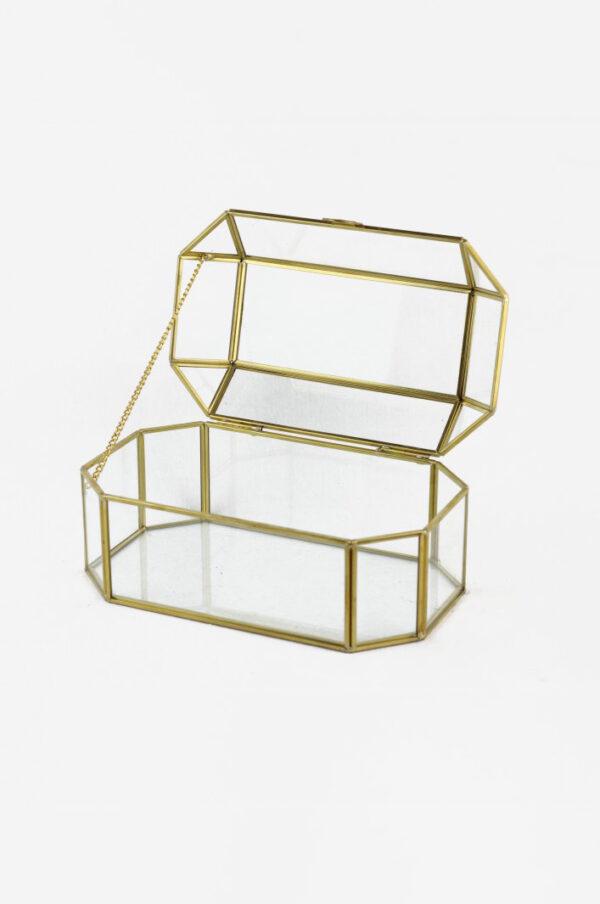 Scatola cofanetto ovale in vetro e metallo oro 21,6 x 13 h. 10 cm