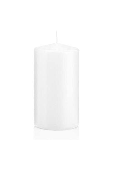 Set 6 candele cilindriche bianche h. 6 d. 6 cm (ottima cera tedesca che cola all'interno - durata 21 ore)