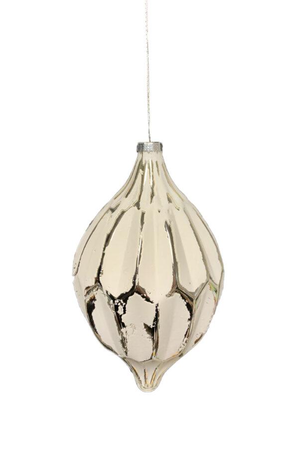 Decorazione - addobbo per albero di Natale a forma di fuso in vetro soffiato bianco e platino h. 20 x larg. 12 cm