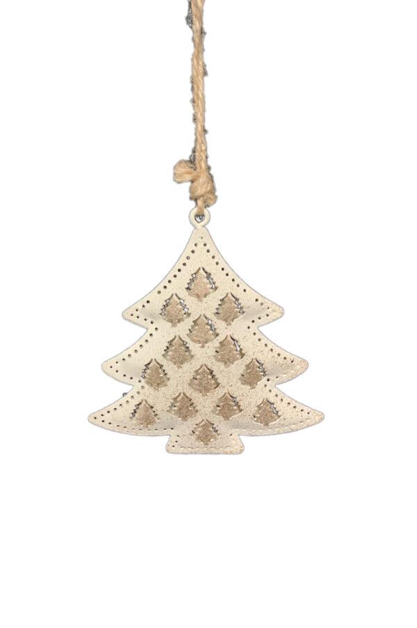 Decorazione addobbo albero di Natale a forma di abete in latta intarsiata color crema con decorazioni oro 9x9 cm