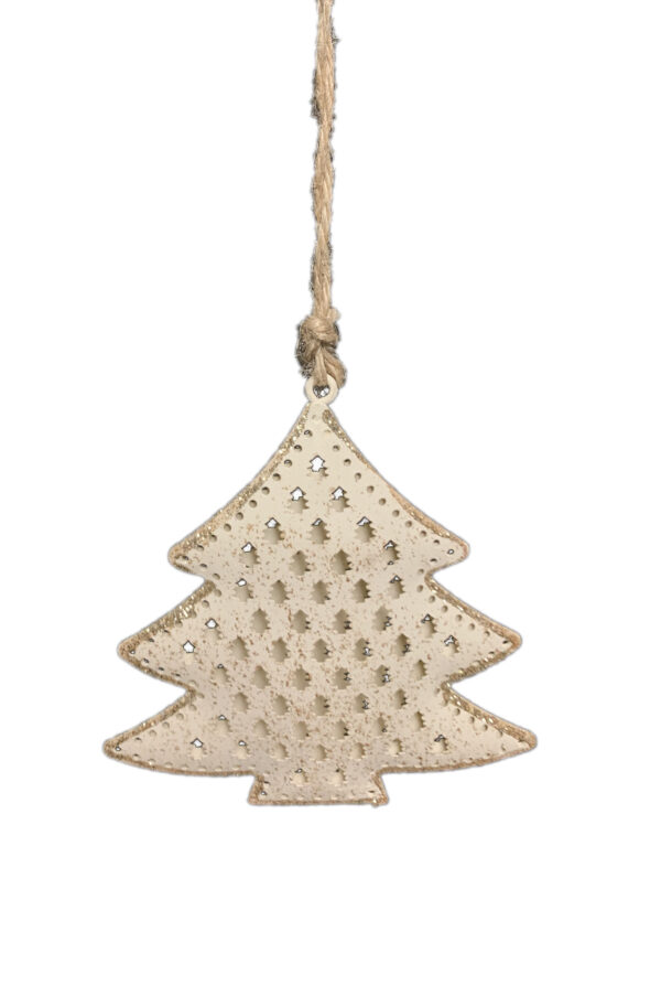 Set 2 pz assortiti Decorazioni addobbo albero di Natale a forma di stella e abete in latta intarsiata color crema con decorazioni oro 10x10 cm