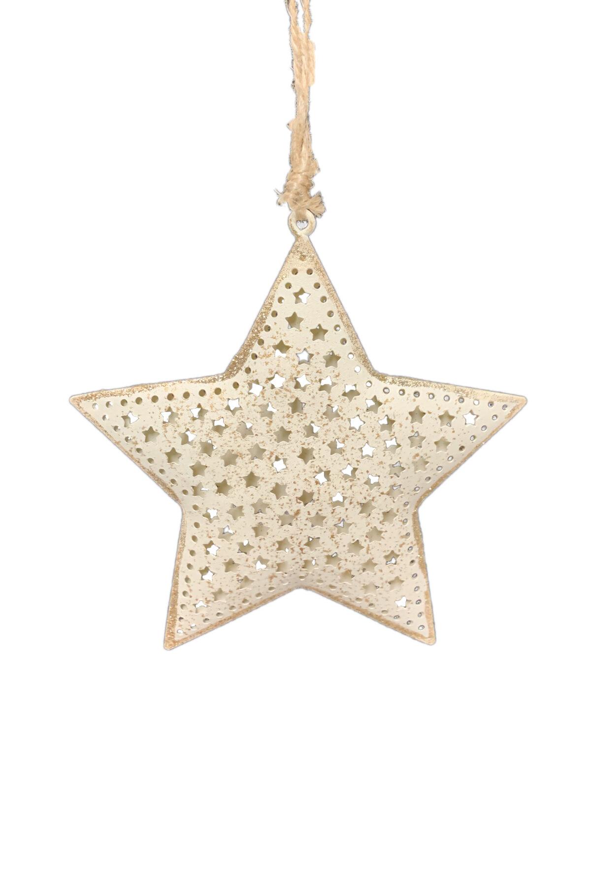 Set 2 pz assortiti Decorazioni addobbo albero di Natale a forma di stella e abete in latta intarsiata color crema con decorazioni oro 10x10 cm