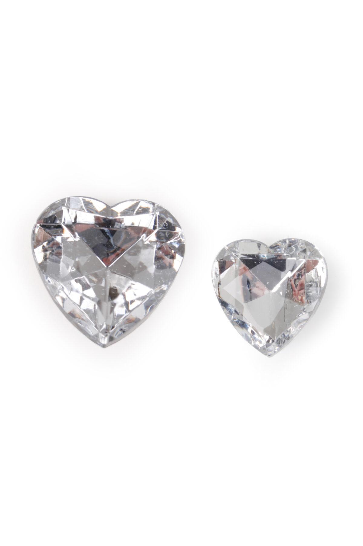 Conf. 120 diamanti strass decorativi a forma di cuore d. 4 e 8 cm ass.