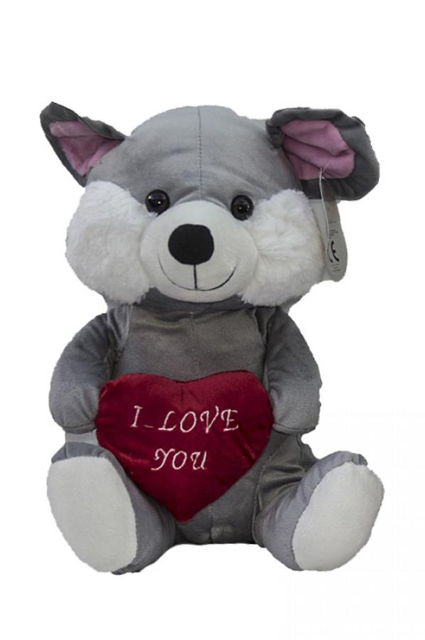 """Peluche di San Valentino topolino con cuore e scritta """"I love you"""" 30 cm"""