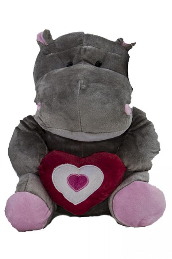 Peluche di San Valentino ippopotamo con cuore rosso 30 cm