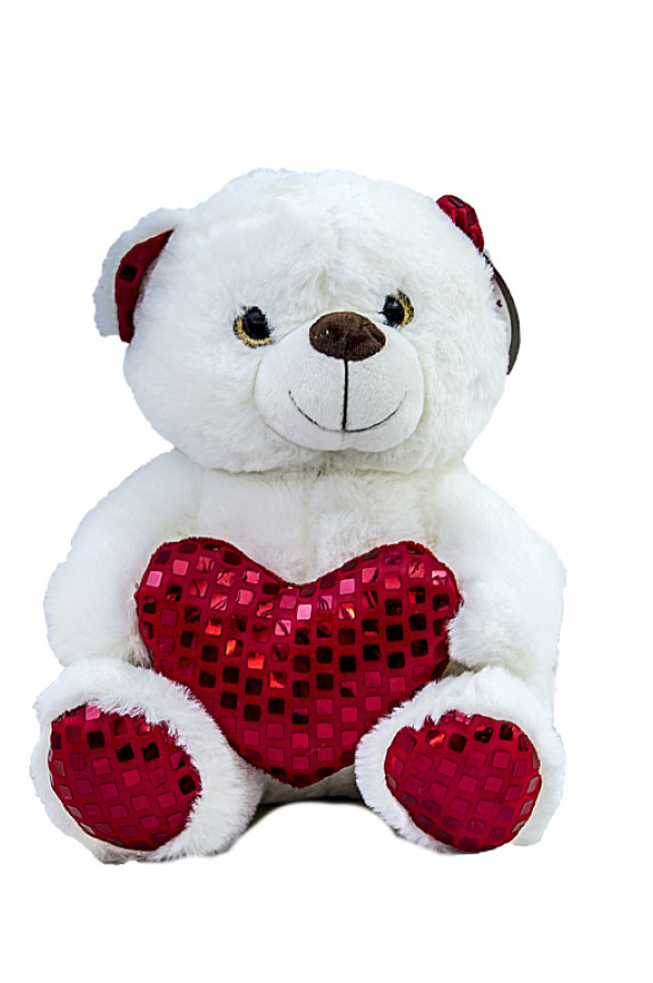 Peluche di San Valentino orsetto bianco con cuore rosso 25 cm