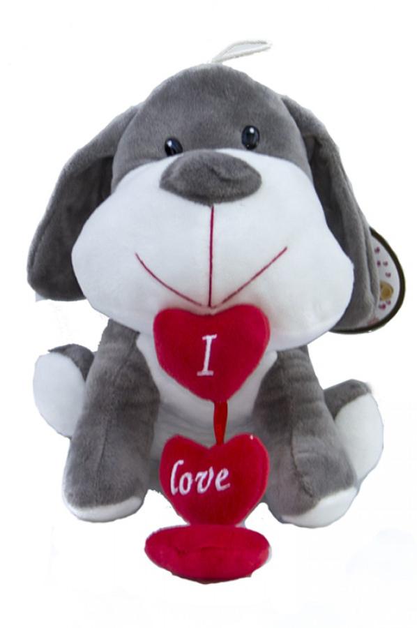 """Peluche di San Valentino cagnolino con cuoricini rossi con scritta """"I love you"""" 20 cm"""
