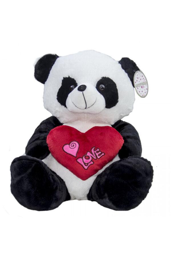 """Peluche di San Valentino panda con cuore rosso con scritta """"love"""" 25 cm"""