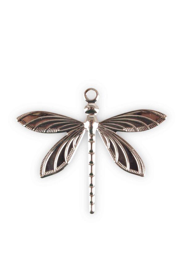 Conf. x 36 libellule decorative in metallo color champagne con occhiello misura 5 cm