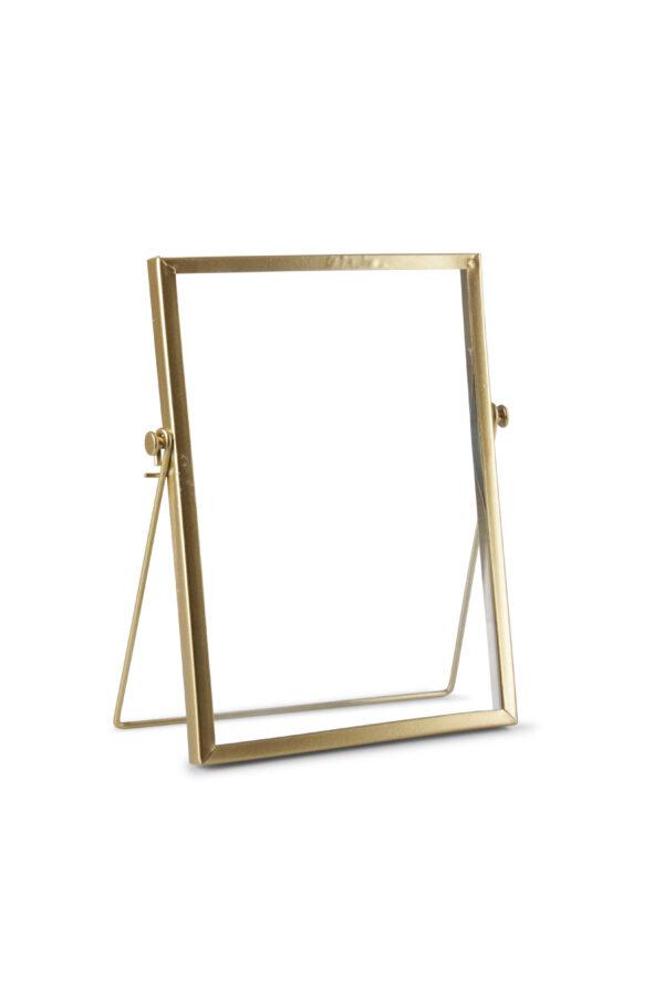 Cornice portafoto in ferro e vetro con piede color oro 15 x h. 20 cm