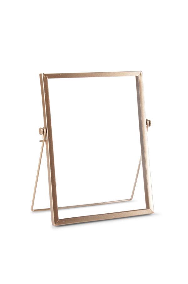 Cornice portafoto in ferro e vetro con piede color oro rosa 5 x h. 20 cm