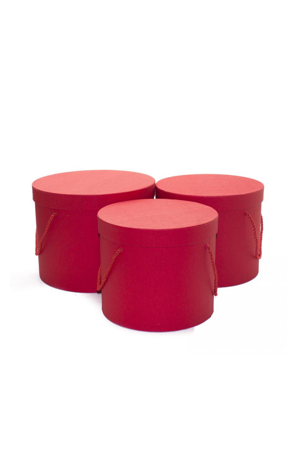 Set 3 Scatole regalo - Flower box rosse in cartoncino con manici h. 20 x d. 25 cm; h. 19 x d. 22cm; h.18 x d. 20 cm