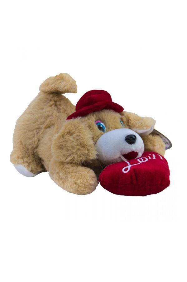 """Peluche di San Valentino cagnolino con cappello e con cuore rosso con scritta """"love"""" 25 cm"""