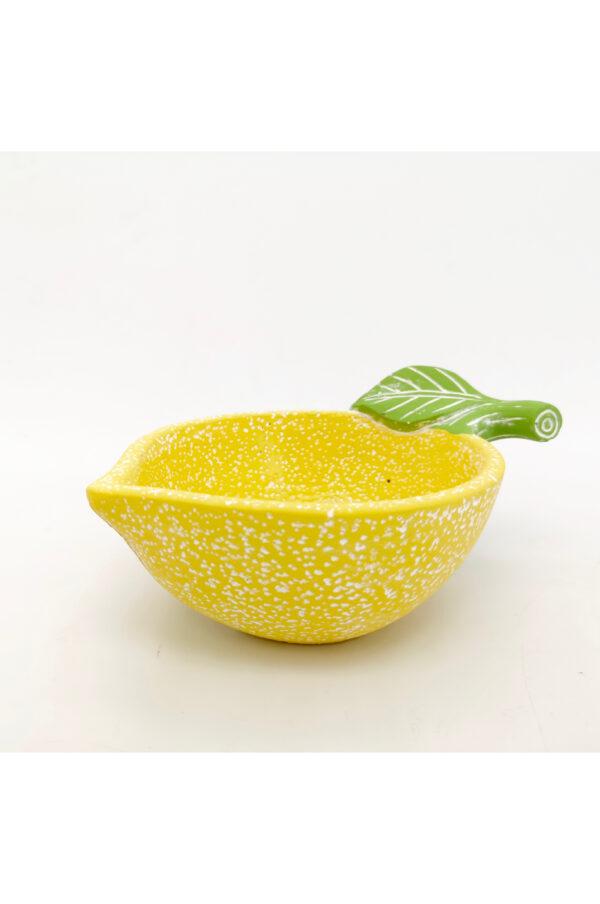 Ciotola coppetta in ceramica a forma di limone giallo con foglie verdi 20 x 14,5 h. 9 cm