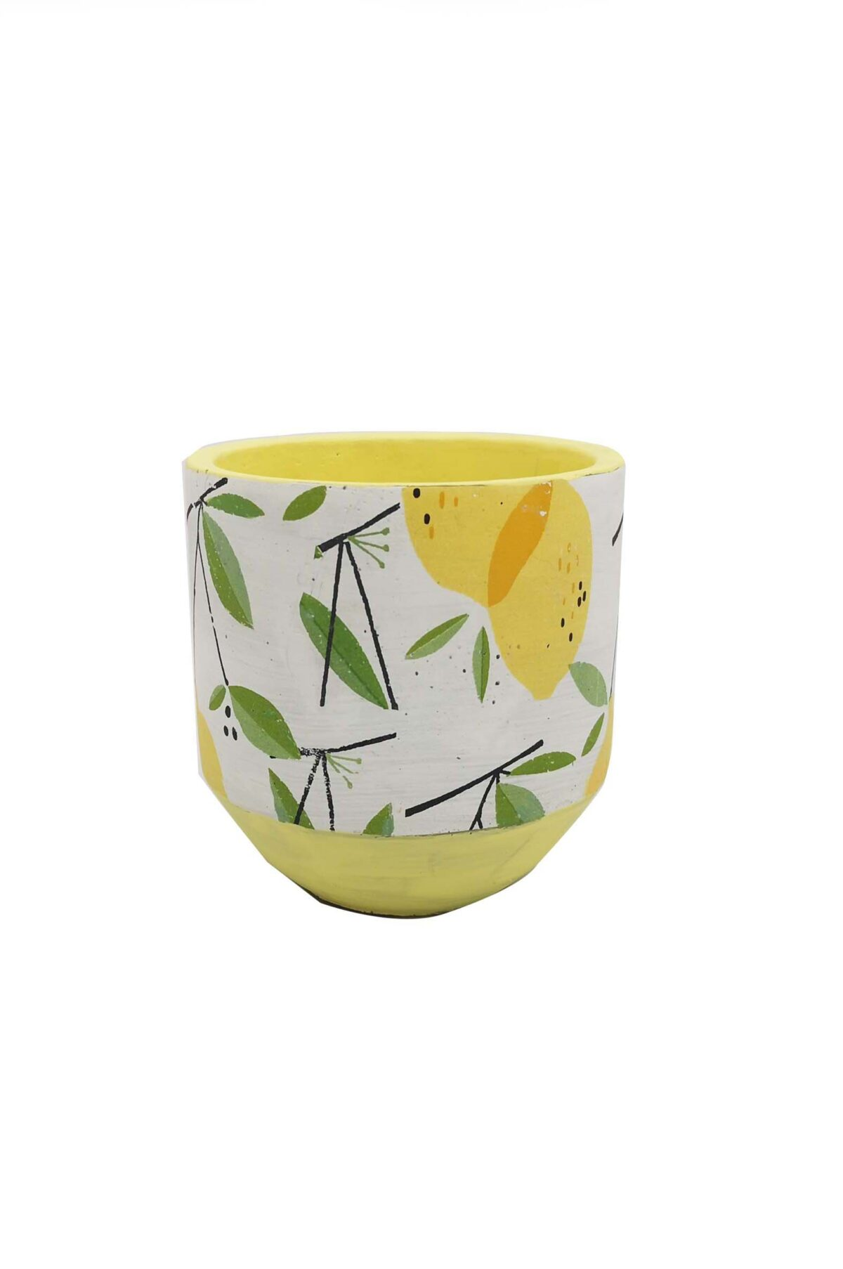 Vaso caspò portapiante in ceramica bianca decorato con limoni d. 14 h. 14 cm