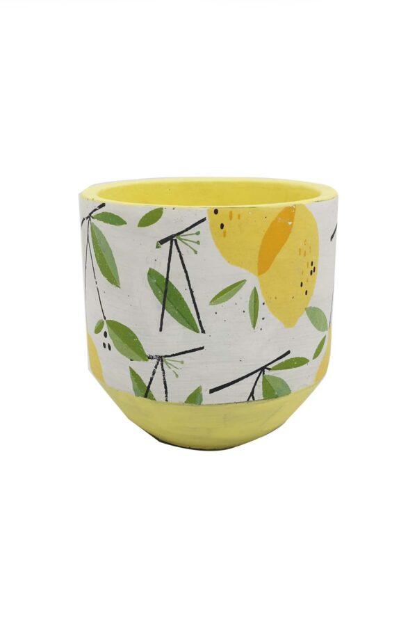 Vaso caspò portapiante in ceramica bianca decorato con limoni d. 17 h. 17 cm