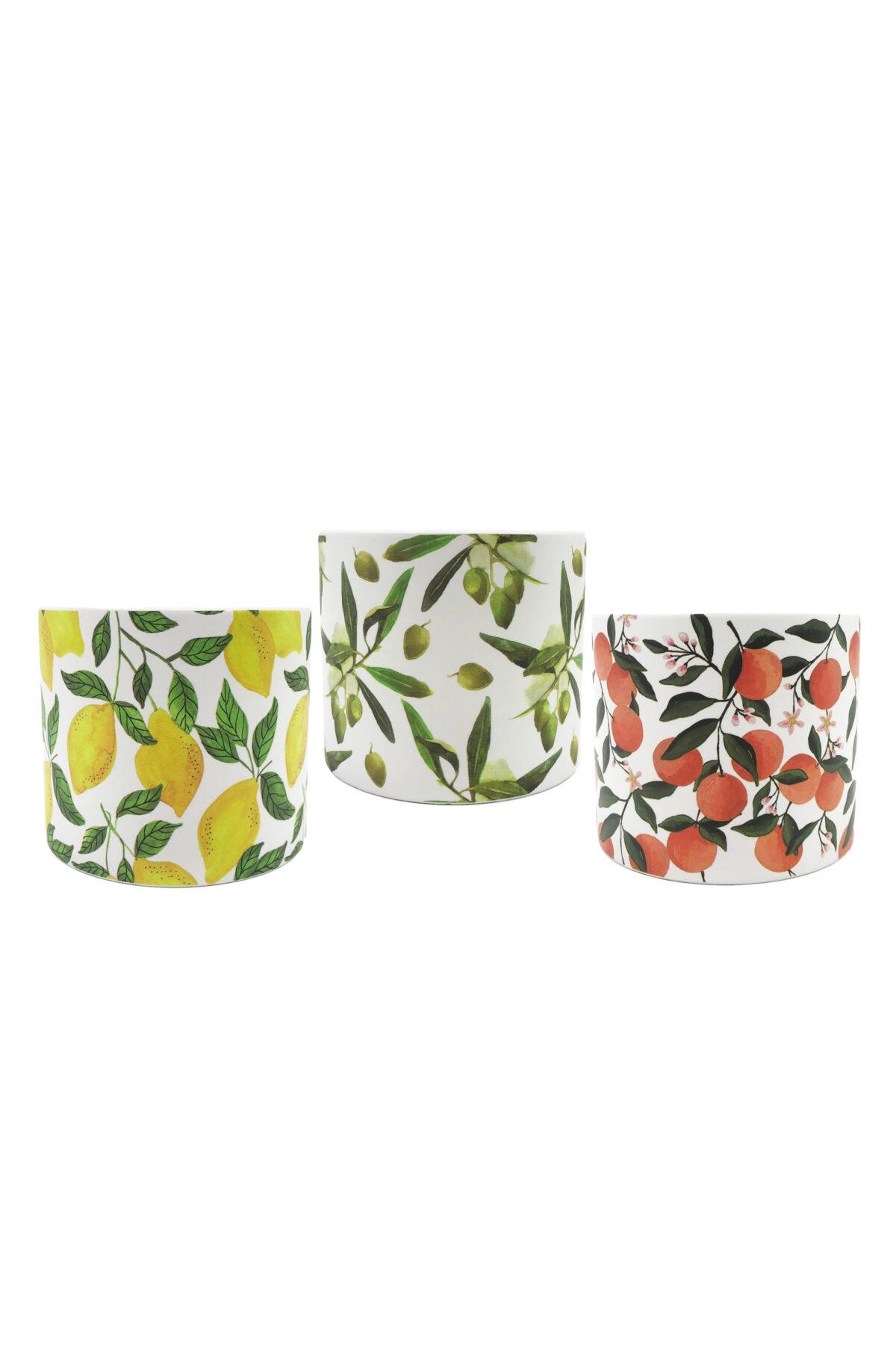 Set 3 Vasi caspò portapiante in ceramica bianca Mix design con limoni, arance e olive d.13,8 h. 12,5 cm