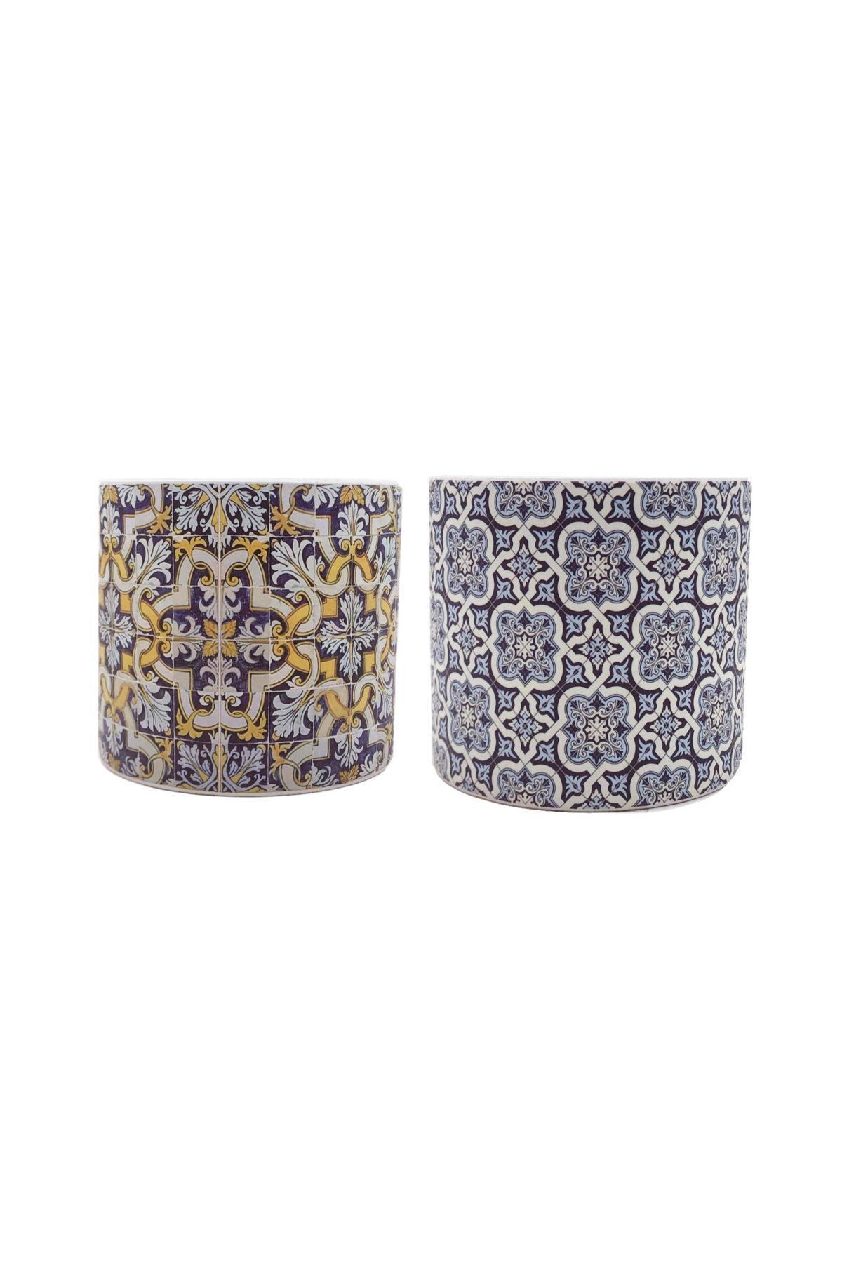 Set 2 Vasi caspò portapiante in ceramica Mix design maioliche blu, celesti e gialle d.13,8 h. 12 cm