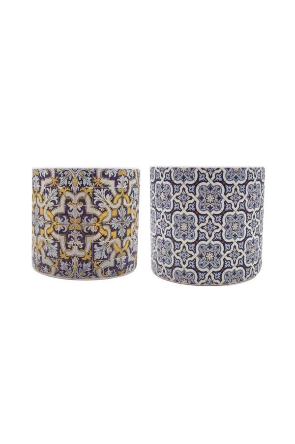 Set 2 Vasi caspò portapiante in ceramica Mix design maioliche blu, celesti e gialle d.12 h. 10,5 cm