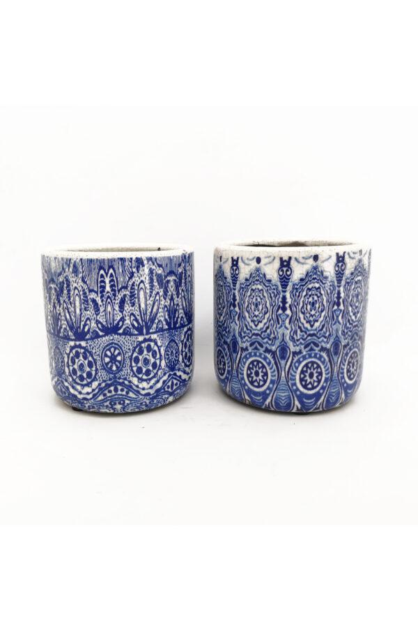Set 2 Vasi caspò portapiante in ceramica Mix design con decorazioni blu e bianche 12,5 x 12,5 h.12,5 cm