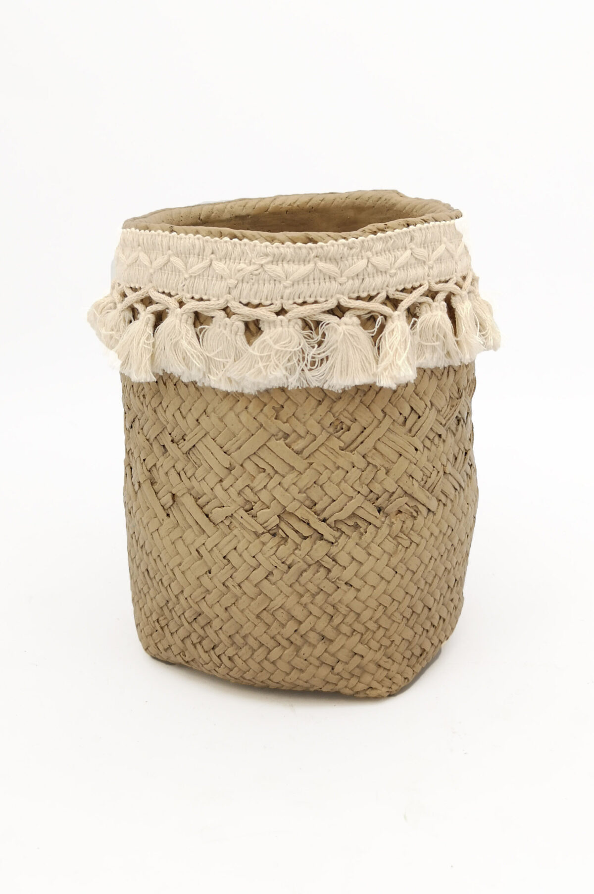 Portavaso - portapianta alto simil cesta con frange d. 17,5 h. 21,5 cm