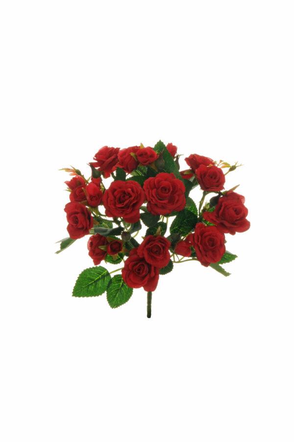 Mazzo di mini rose artificiali rosse con 7 rami h. 29 cm
