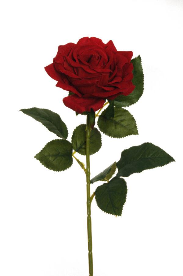 Rosa in velluto rosso modello Regina con 4 gruppi di foglie d. fiore 12 cm h. 74 cm