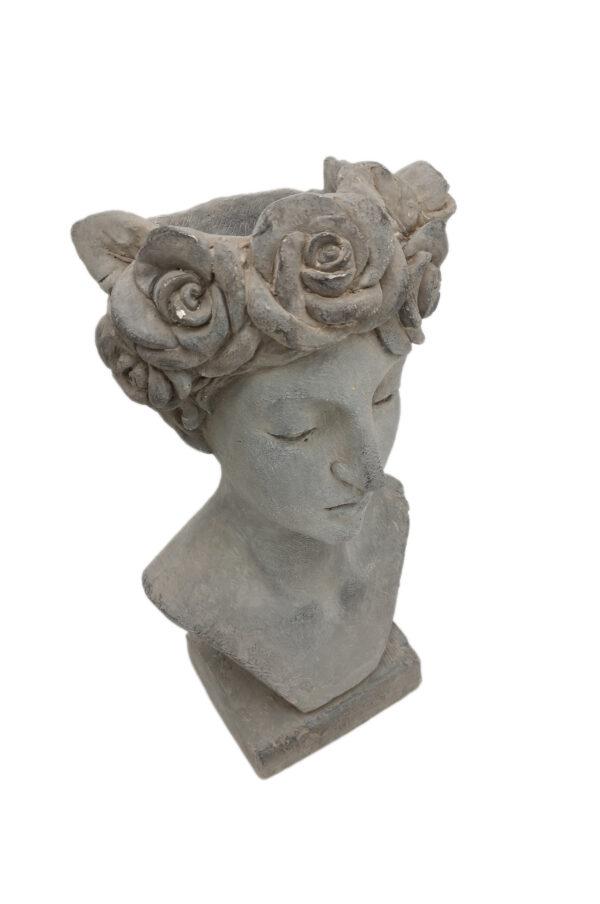 Busto donna su base in pietra con corona di fiori portavaso - portafiori 30 x 26 h. 56 cm
