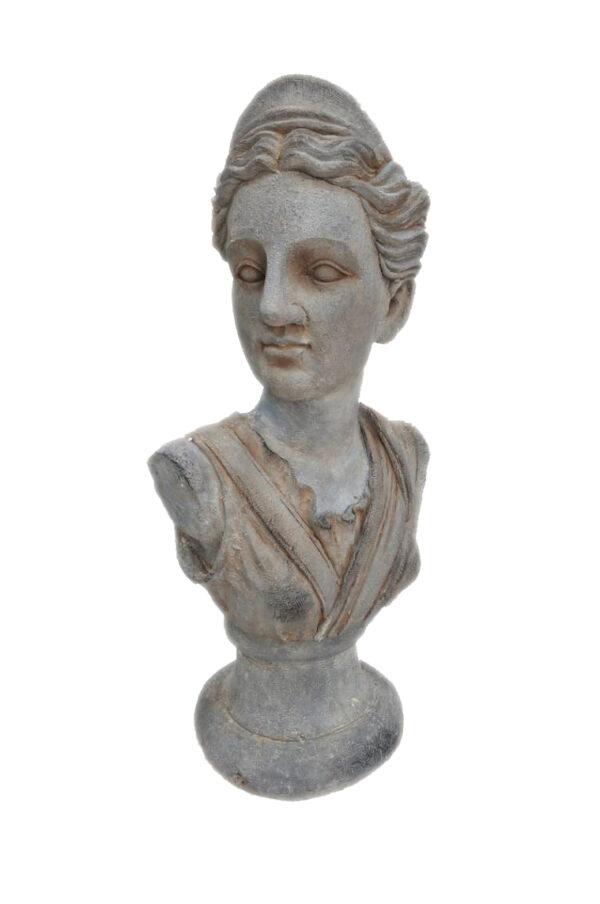 Busto donna su piedistallo stile statua greco romana portavaso - portafiori 42 x 28 h. 88 cm