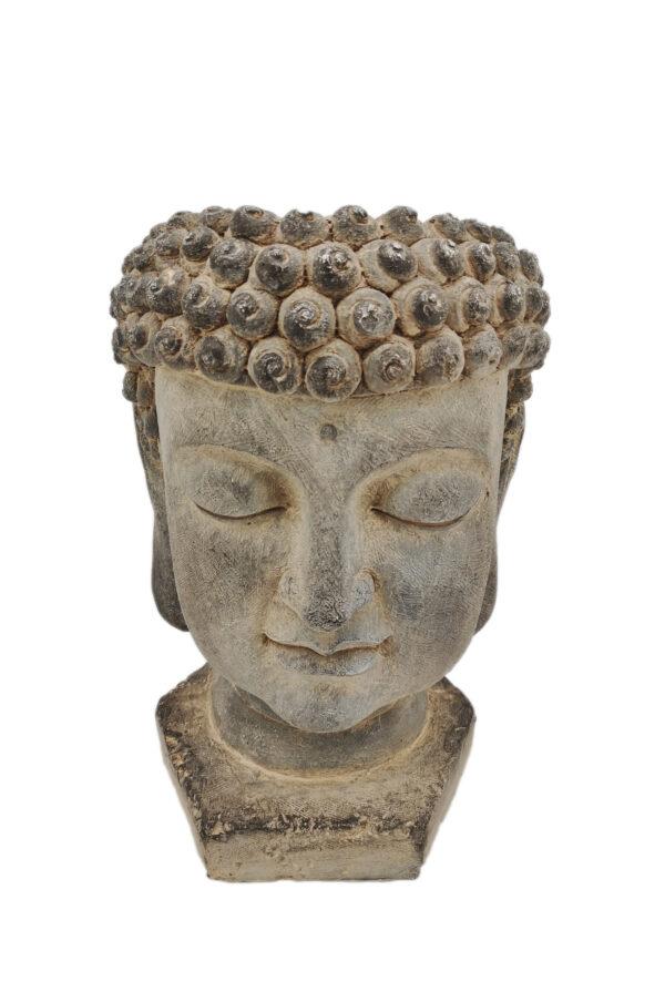 Testa di Buddha color cemento portavaso - portafiori 30 x 32 h. 46 cm