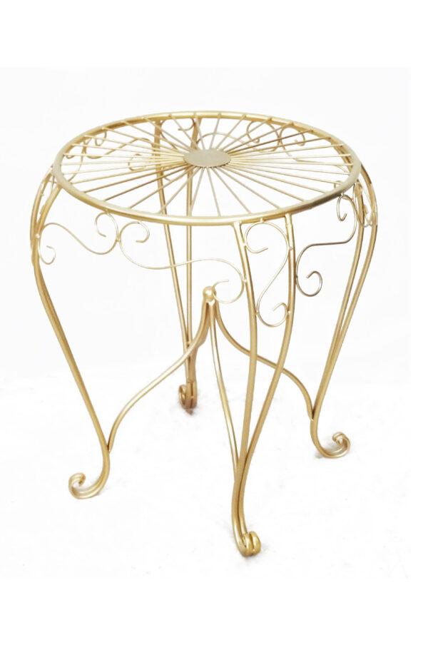 Tavolino in metallo oro d. 46 h. 58,5 cm
