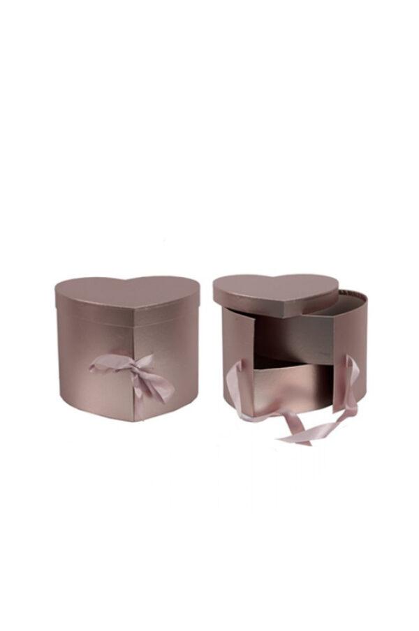 Scatola regalo - Flower box a forma di cuore con 2 sezioni interne color rosa antico metallico 25 x 23 x 19 cm