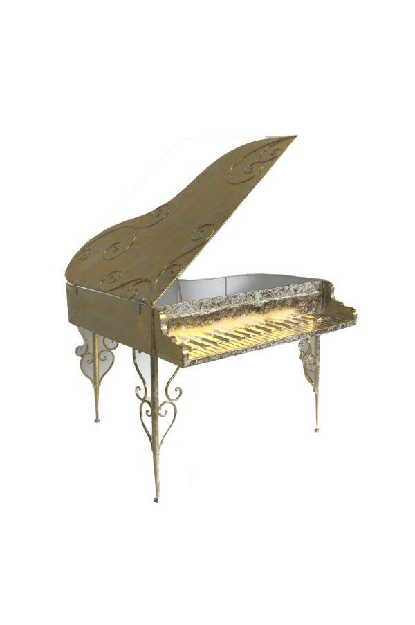 Pianoforte decorativo in metallo con scomparto contenitore - espositore 50 x 46 h. 32 cm