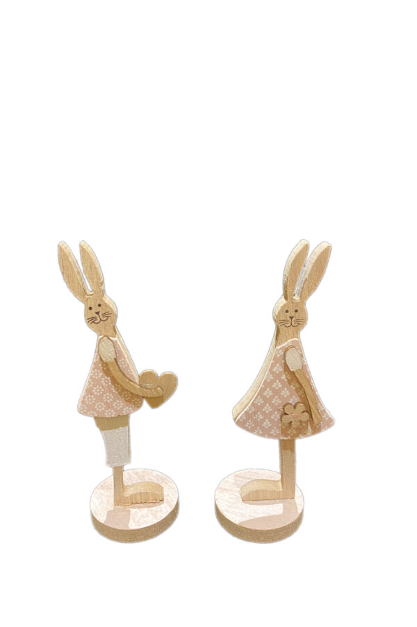 Conf. 2 Coniglietti ass. rosa decorativi soprammobili - segnaposto con base in legno 5 x h. 16 cmcm