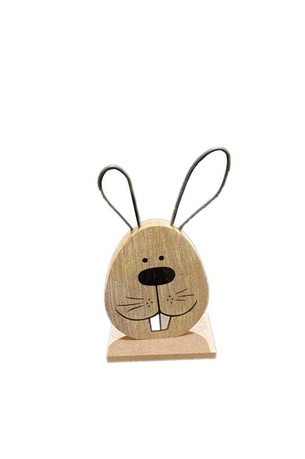 Coniglietto decorativo soprammobile - segnaposto con base in legno e con orecchie in metallo 12 cm