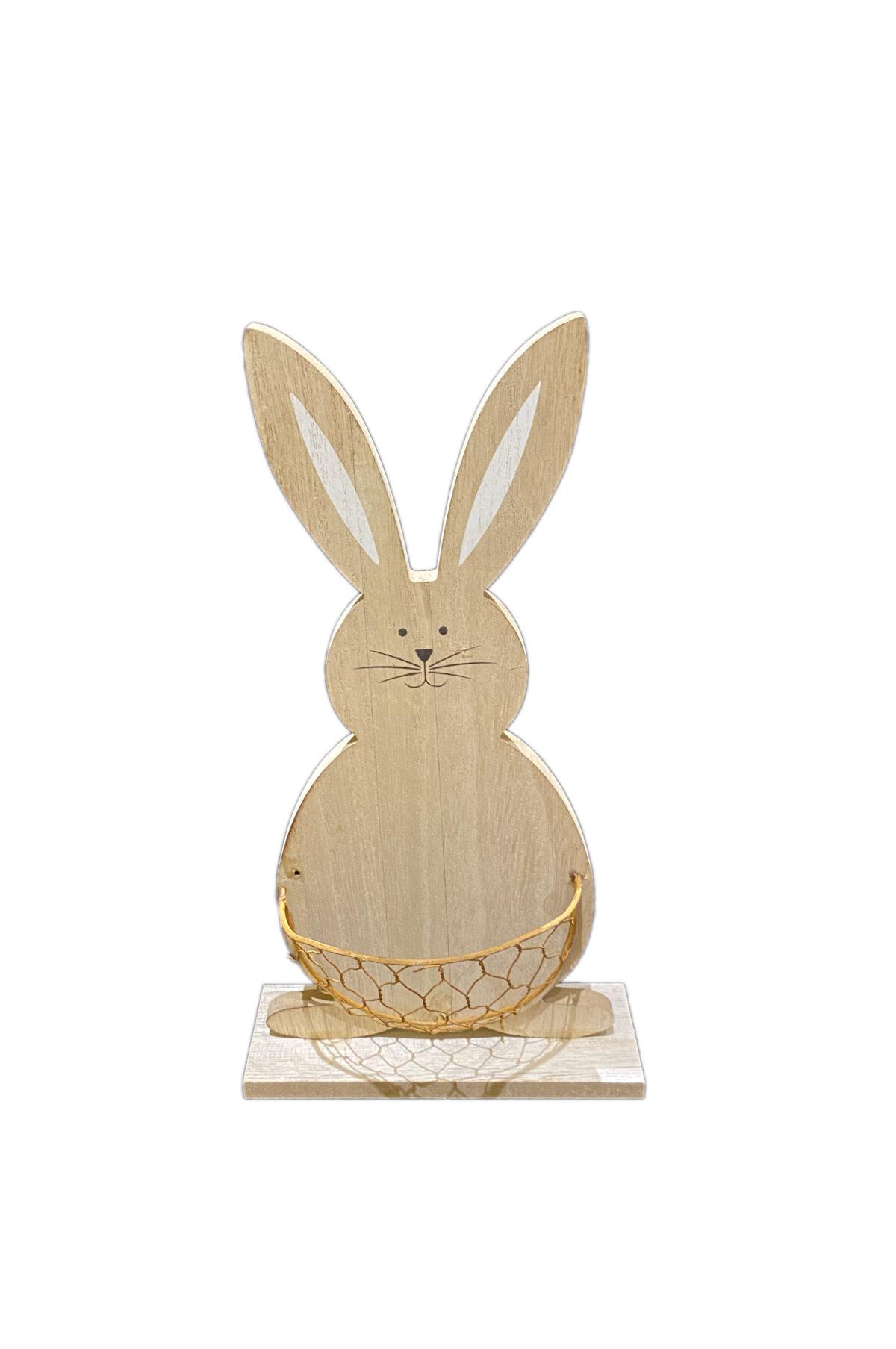 Coniglio decorativo soprammobile - segnaposto con base in legno e con contenitore in metallo sulla pancia 12 cm