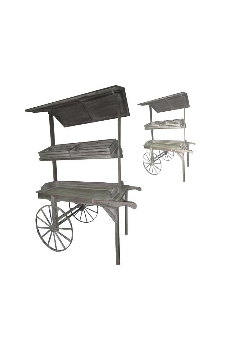 Carretto espositore in legno sui toni del grigio con ruote in metallo e con 2 ripiani e 2 cassette in legno per lato 150 x 80 x h. 180 cm