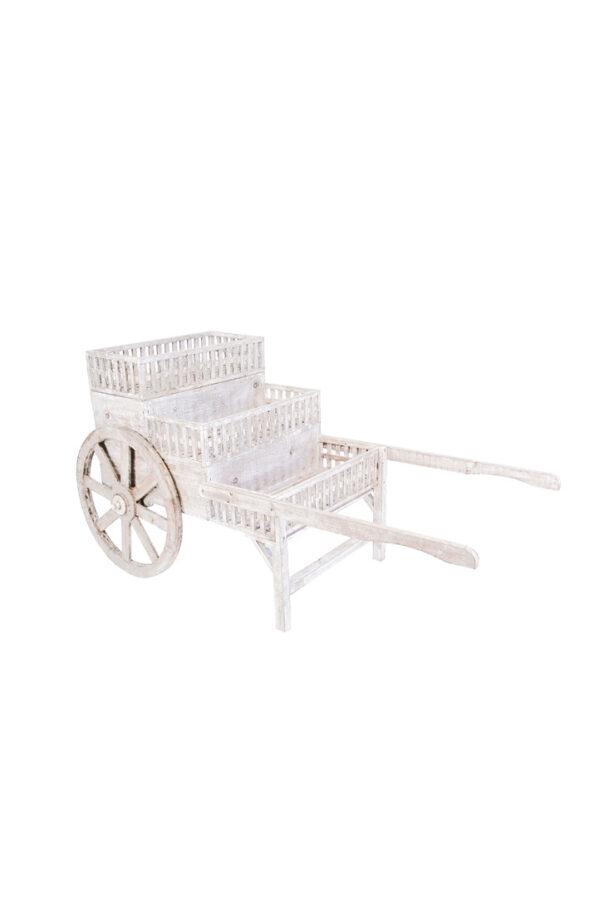 Carretto espositore in legno sbianco con 3 ripiani espositivi e ruote funzionanti 160 x 80 x h. 85 cm