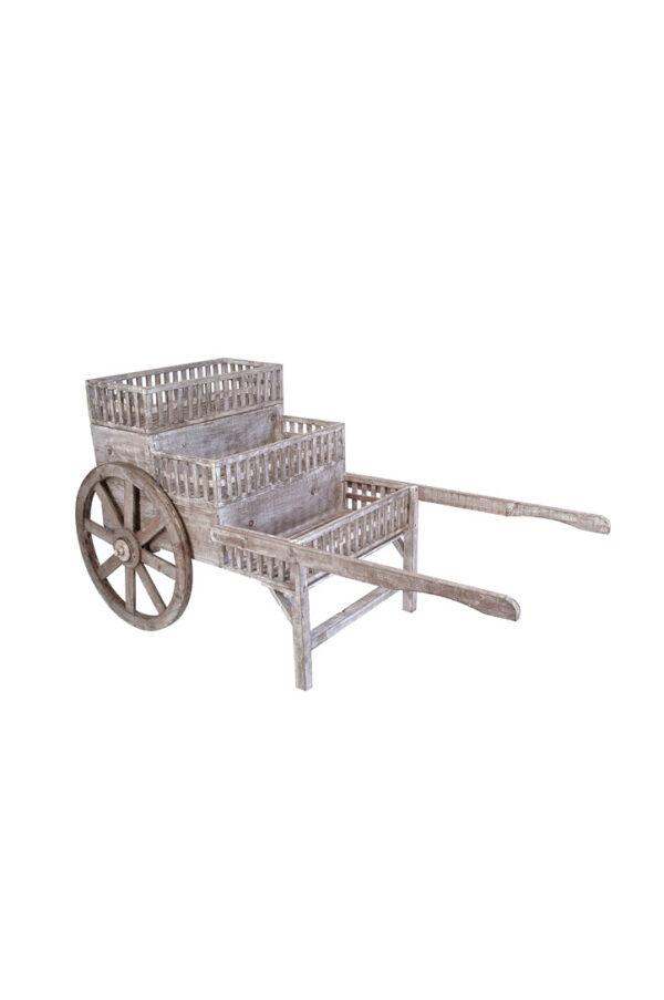 Carretto espositore in legno sui toni del grigio con 3 ripiani espositivi e ruote funzionanti 160 x 80 x h. 85 cm