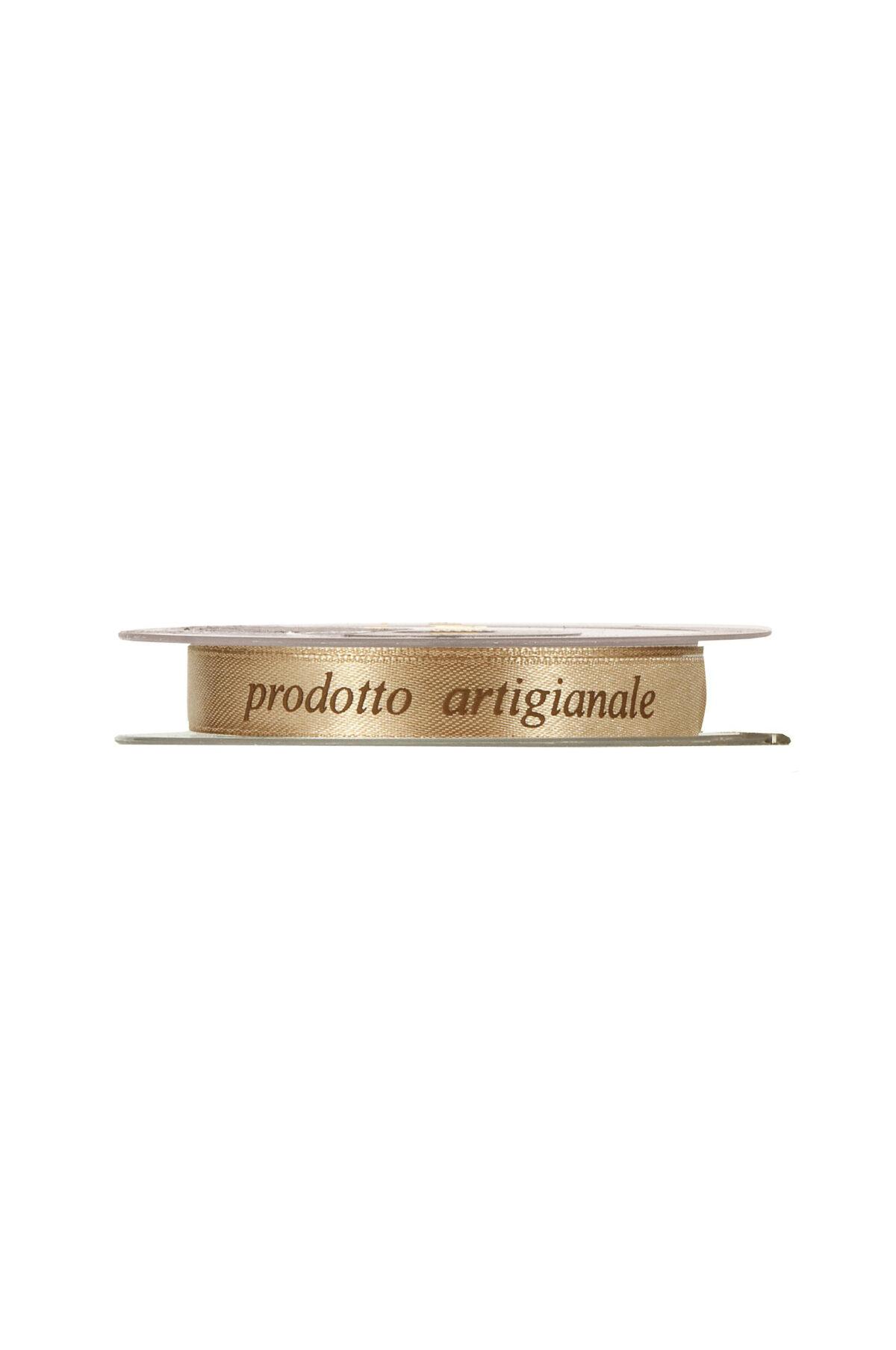 """Nastro doppio raso con scritta """"prodotto artigianale"""" color oro 12 mm x 25 mt"""