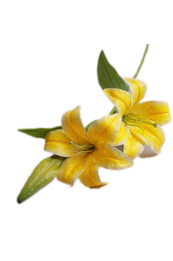 Ramo Giglio o Lilium artificiale con 2 fiori di colore giallo h. 77 cm