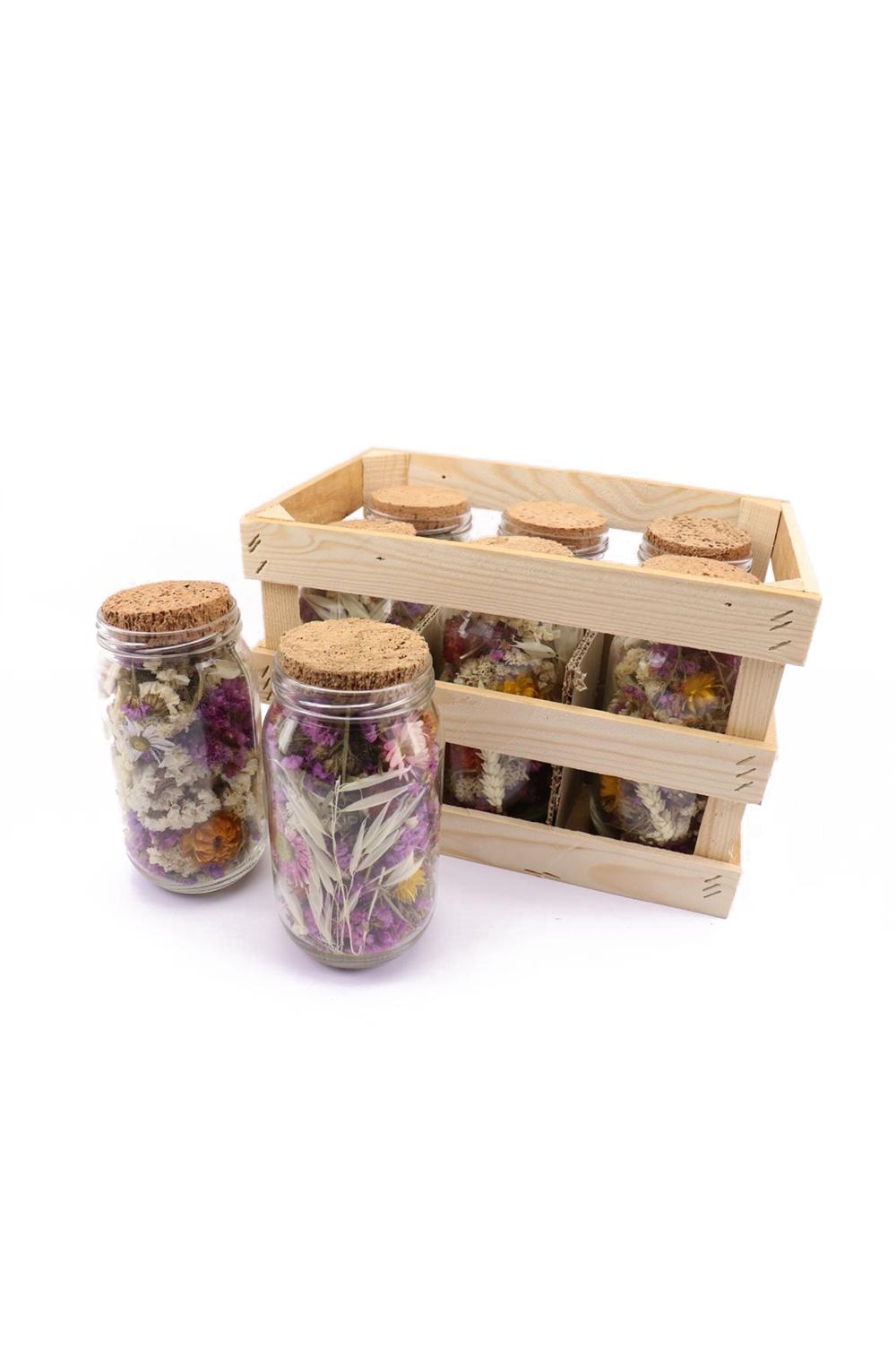 Barattolo in vetro con tappo in sughero contenente mix fiori essiccati e stabilizzati colorati d. 9 h. 19 cm