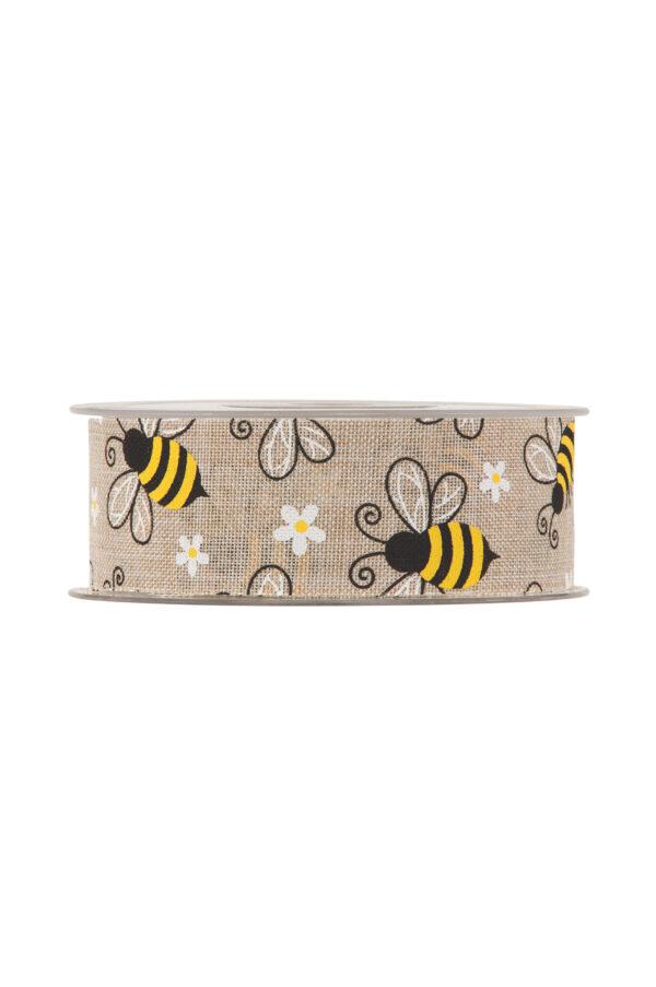 Nastro in cotone color naturale con api e fiorellini bianchi e gialli 38 x 20 mt