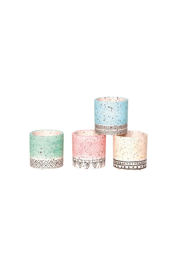 Set 4 vasetti tondi in ceramica mix design stile tribale - messicano 7 x h. 7 cm